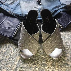 Gucci crossover sandal silver glitter size 36.5